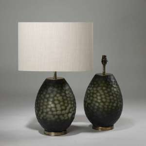 Pair of small green honeycomb cut glass lamps on brass bases (T3927)