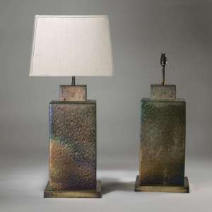 Pair of large square hammered ceramic lamps on brass bases (T3929)