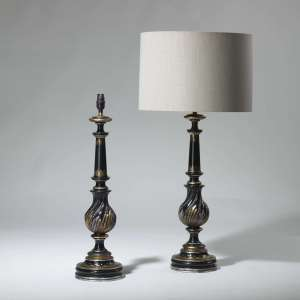pair of large black old c1950 classical column lamps (T3935)