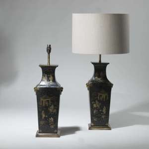 Pair of medium black chinoiserie in gold details lamps on square brass bases (T3939)