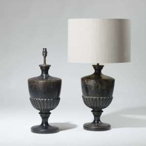 Pair of medium black trophy shaped lamps (T3947)