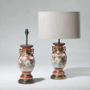 Pair of small red orange oriental Chinoiserie vase lamps on brass bases (T3950)
