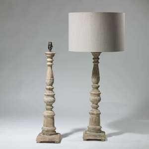 Pair of tall wooden carved lamps (T3956)