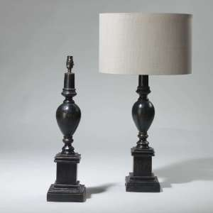 Pair of medium black wooden carved lamps (T3957)