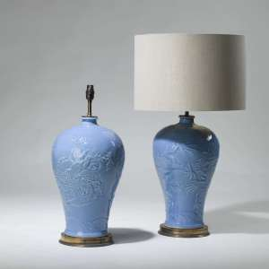 Pair of medium blue dragon ceramic lamps on brass bases (T3967)