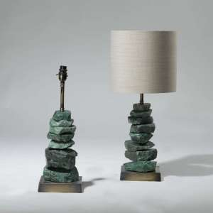 Pair of small green stacked rocks lamps on square brass bases (T3973)