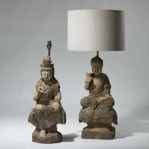 Pair of tall wooden carved oriental buddha lamps (T3977)