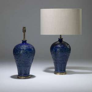 Pair of medium blue ceramic lamps on brass bases (T4012)