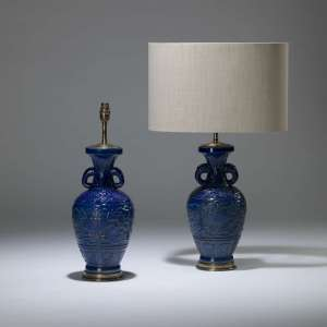 Pair of medium blue ceramic lamps with handles on brass bases (T4015)