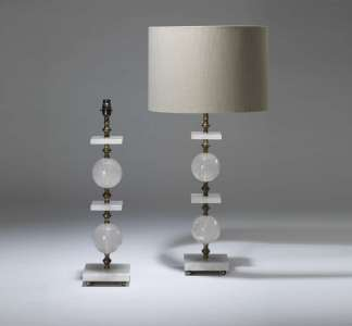 Pair of large rock crystal lamps with square and ball detail on square rock crystal bases (T4029)