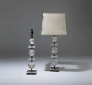 Pair of medium rock crystal lamps with square and ball detail on square rock crystal bases (T4030)