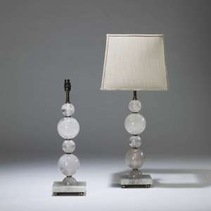 Pair of medium rock crystal ball lamps on square rock crystal bases (T4032)