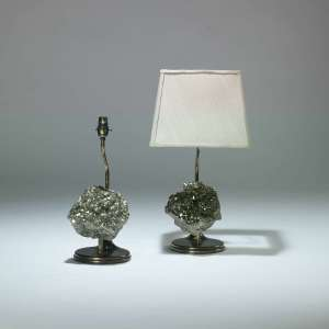 Pair of small silver hematite stone chunk lamps (T4043)