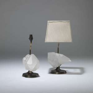Pair of small rock crystal chunk lamps (T4044)
