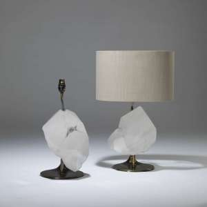 Pair of large rock crystal chunk lamps (T4045)