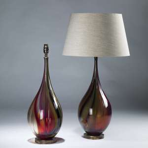 Pair of medium Medium red glass optic teardrop lamps on brass bases (T4059)