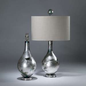 Pair of small silver blue teardrop lamps on nickel bases with matching finials (T4066)