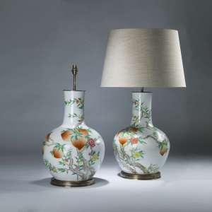 Pair of huge white ceramic antique Chinese 8 peach lamps on brass bases (T4067)