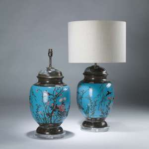 Pair of large blue antique Japanese cloisonné vases on perspex bases (T4069)