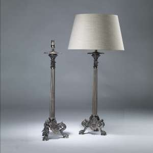 Pair of tall silver bronze classical candelabra lamps (T4073)