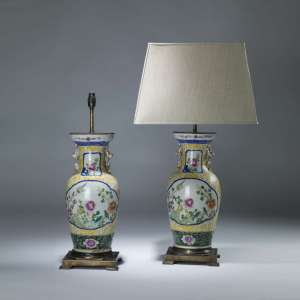 Pair of Large yellow ceramic chinese porcelain lamps on antique brass bases (T4074)