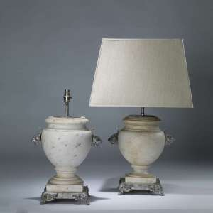 Pair of large white marble urn lamps on silvered bronze bases (T4082)