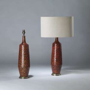 Pair of medium red ceramic 'blobby' lamps on brass bases (T4096)