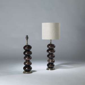 Pair of medium purple glass pebble lamps on round brass bases (T4114)