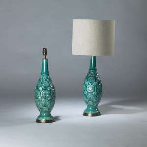 Pair of small blue turquoise ceramic carved flower lamps on round brass bases (T4119)