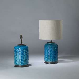 Pair of medium electric blue rope lamps on round brass bases (T4127)
