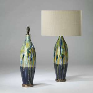Pair of large blue yellow ceramic drizzle lamps on round brass bases (T4130)