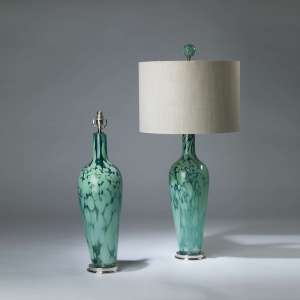 Pair of large blue green speckled glass lamps on nickel bases with matching finials (T4135)