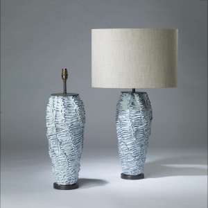 Pair of large ice blue ceramic 'wave' lamps on bronze round bases (T4146)