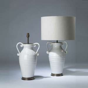 Pair of medium white crackled ceramic scroll urn lamps on round brass bases (T4150)