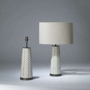 Pair of small white and grey 'Fearne' ceramic lamps on round bronze bases (T4158)