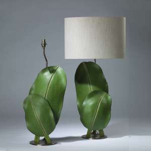 Pair of large green wooden leaf lamps on round brass bases (T4162)