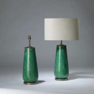 Pair of medium green crackled ceramic 'daisy' lamps on round brass bases (T4167)
