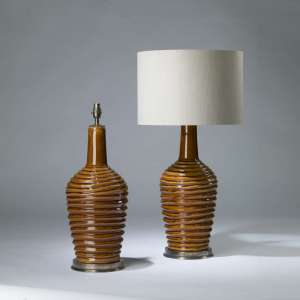 Pair of large  brown ceramic 'coil pot' lamps on round brass bases (T4170)