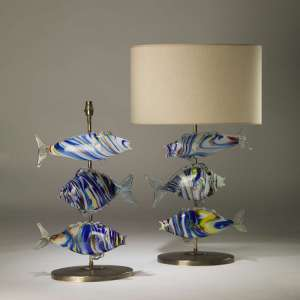 Pair of large murano glass blue fish lamps on oval brass bases (T4173)