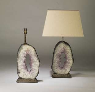 Pair of large oval purple amethyst slices on textured distressed brass bases (T4184)