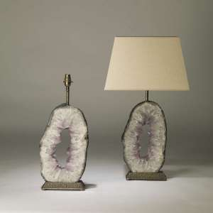 Pair of large oval purple amethyst slices on textured distressed brass bases (T4186)