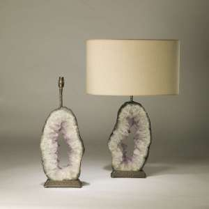 pair of large oval purple amethyst slices on textured distressed brass bases (T4187)