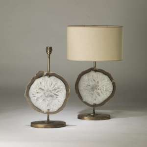 Pair of medium brown and white agate lamps on oval distressed brass bases (T4189)