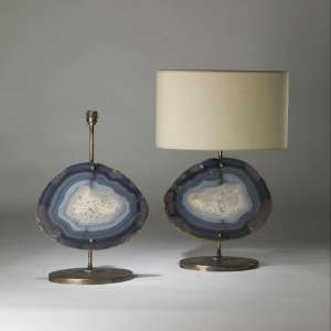 Pair of large blue purple agate lamps on oval distressed brass bases (T4193)
