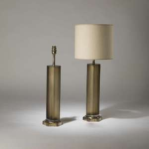 Pair of medium brown grey cut glass 'Laura' lamps on hexagonal brass bases (T4203)
