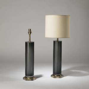 Pair of medium blue grey cut glass 'Laura' lamps on hexagonal brass bases (T4204)