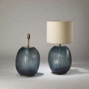 Pair of medium blue cut glass 'abstract' lamps with brass ball feet (T4207)