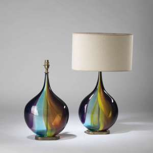 pair of medium multicoloured 'squashed apple' lamps with elongated necks on oval brass bases (T4215)
