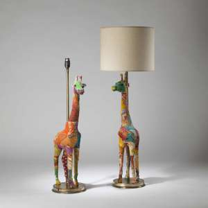 Pair of tall multicoloured patchwork Giraffe lamps on round brass bases (T4222)