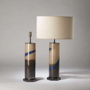 Pair of large cream blue glass 'trail' lamps on brown brown hexagonal bases (T4227)